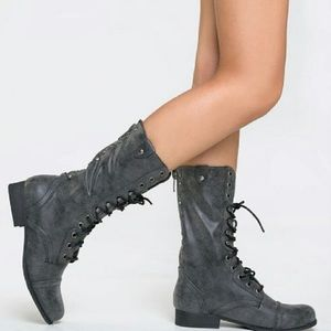 Madden Girl Gray Studded Lace-Up Zip Combat Boots